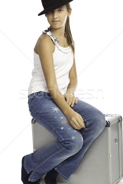 Yalıtılmış kız bagaj yüz genç Stok fotoğraf © Elegies