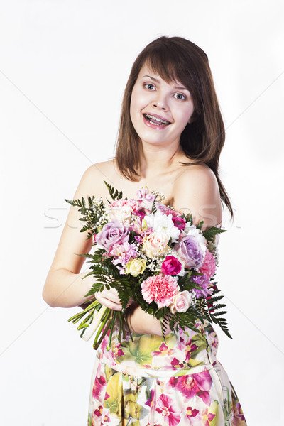 Sorridere bouquet diverso fiori Foto d'archivio © Elegies