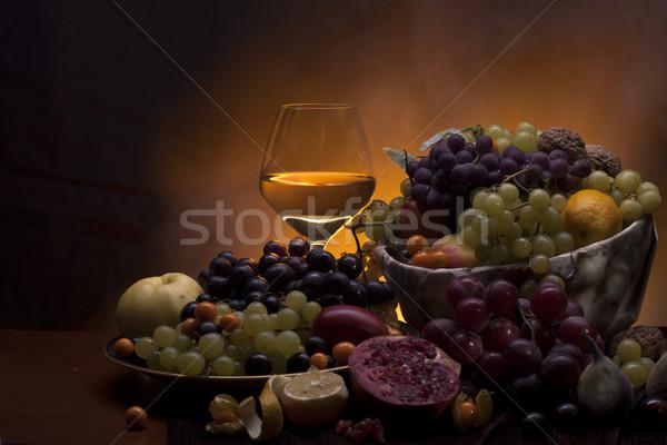 Meyve cam beyaz şarap farklı içmek Stok fotoğraf © Elegies