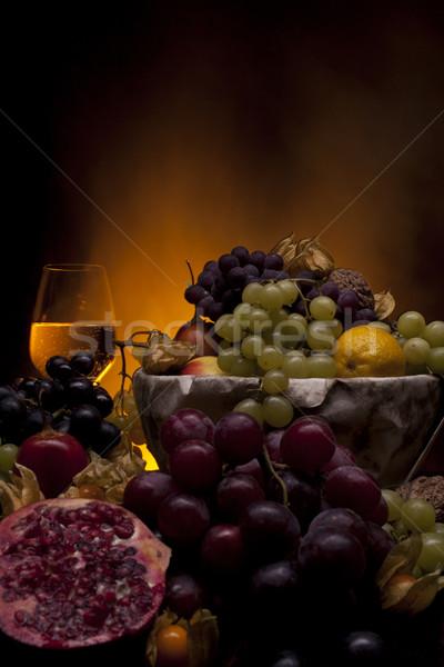 Meyve cam beyaz şarap farklı şarap ışık Stok fotoğraf © Elegies