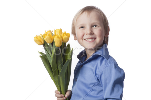 Ragazzo fiore positivo 5 anni bambino blu Foto d'archivio © Elegies