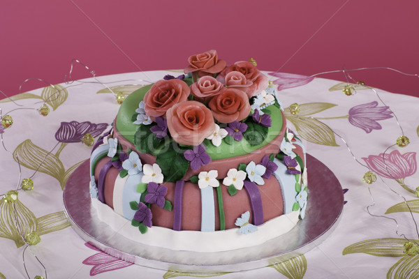 festive table with a pie from marzipan flowers Stock photo © Elegies