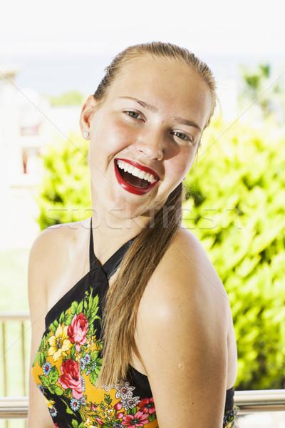 Mutlu kadın genç kadın kırmızı dudaklar kız yaz Stok fotoğraf © Elegies