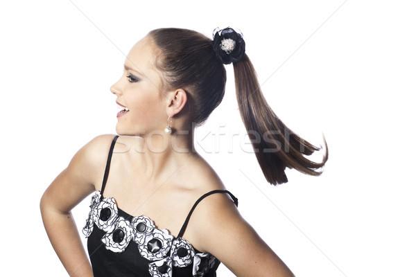 Pozitif kız beyaz kadın saç güzellik Stok fotoğraf © Elegies