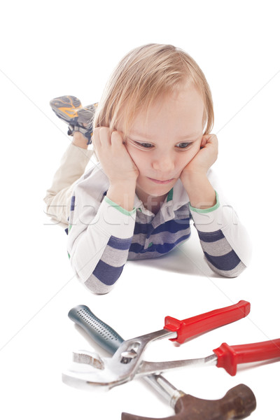 boy with hammer and pliers Stock photo © Elegies