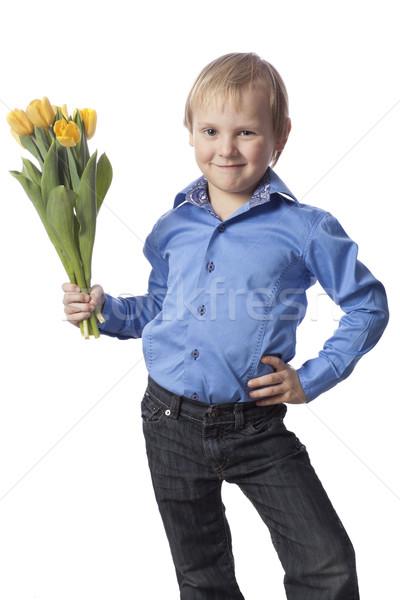 Fiú virág pozitív 5 éves ajándék izolált Stock fotó © Elegies