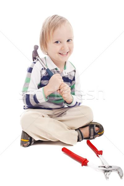 Erkek çekiç küçük çocuk beyaz gülen Stok fotoğraf © Elegies