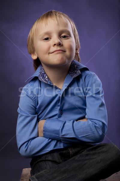 Erkek mavi gömlek siyah pantolon mor Stok fotoğraf © Elegies