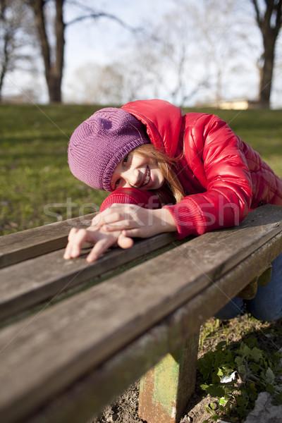 Gülen okul yaş kız park güneş Stok fotoğraf © Elegies