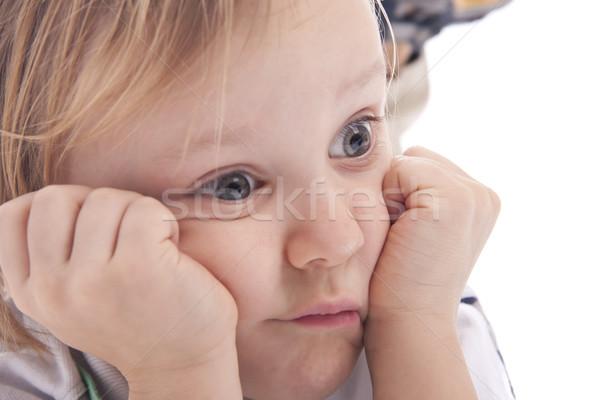 Piccolo ragazzo guardando grandi occhi positivo isolato Foto d'archivio © Elegies