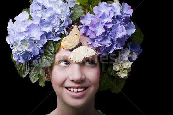 Yaz kız gülen çiçek kelebek kafa Stok fotoğraf © Elegies