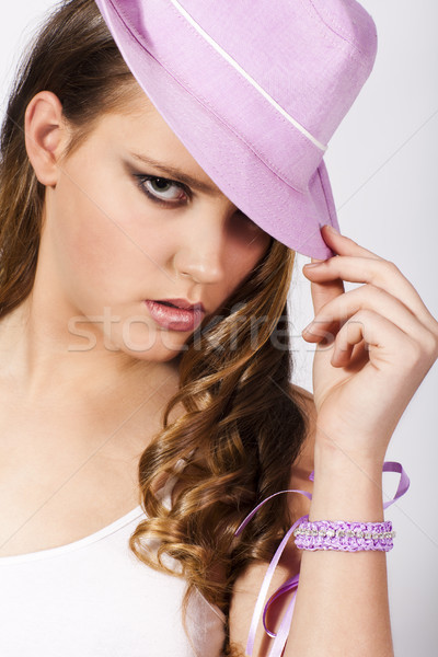 young woman with pink hat  Stock photo © Elegies