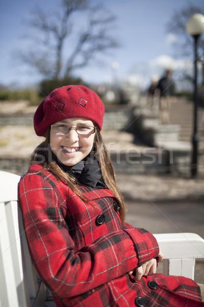 Positivo scuola età ragazza parco Foto d'archivio © Elegies