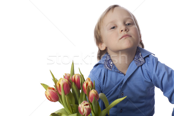 Piccolo ragazzo tulipani positivo isolato fiore Foto d'archivio © Elegies