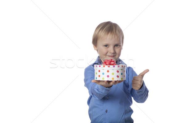 Positivo ragazzo presenti bambino blu bianco Foto d'archivio © Elegies