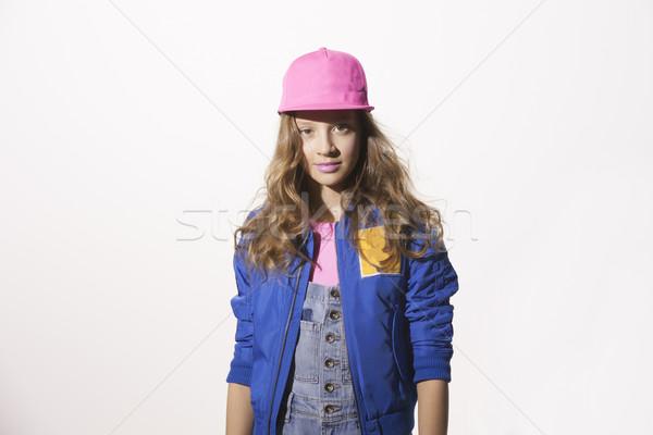 Pop stil kız kafkas moda renk Stok fotoğraf © Elegies