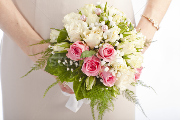 Buket beyaz güller pembe Stok fotoğraf © Elegies