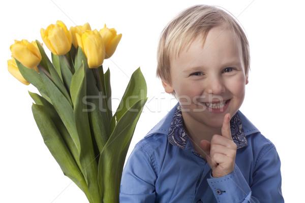 Gülen erkek sarı lale Stok fotoğraf © Elegies