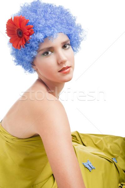Pozitif kız mavi saç kafkas gökyüzü Stok fotoğraf © Elegies