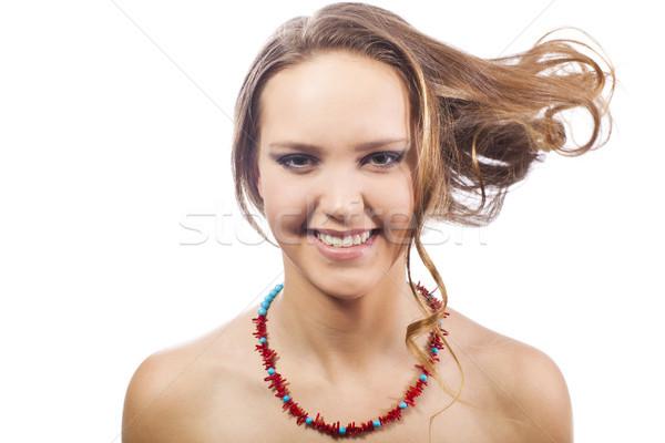 Gülen genç kadın pozitif kız beyaz kadın Stok fotoğraf © Elegies