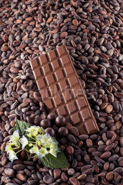 milk chocolate on cocoa beans Stock photo © Elegies