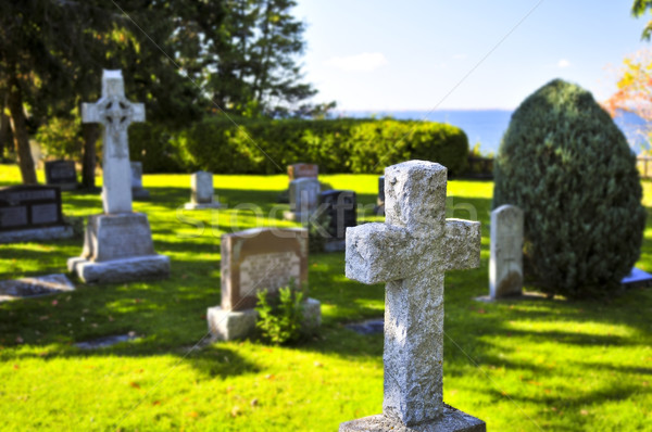 Graveyard with tombstones Stock photo © elenaphoto