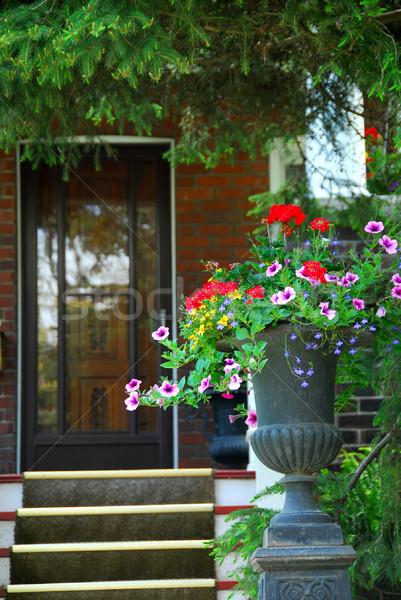 Maison entrée fleurs rue maison Photo stock © elenaphoto