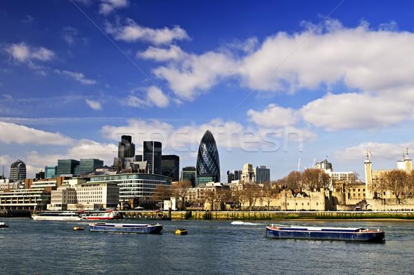 Torony London sziluett kilátás Temze folyó Stock fotó © elenaphoto