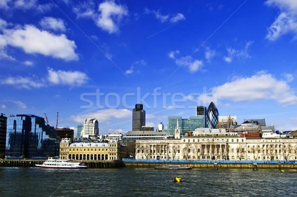 London skyline from Thames river Stock photo © elenaphoto