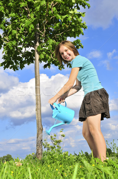 Girl watering a tree Stock photo © elenaphoto