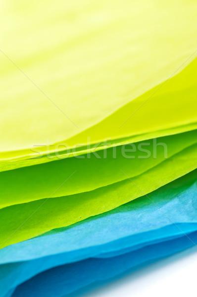 Papírzsebkendő papír közelkép kék zöld citromsárga Stock fotó © elenaphoto