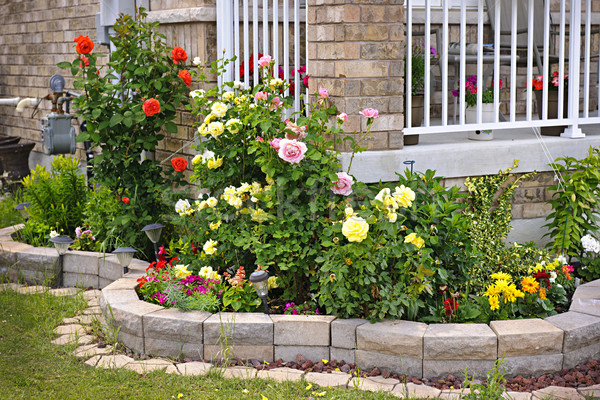 Garden with stone landscaping Stock photo © elenaphoto