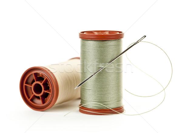 スレッド 2 針 ミシン 孤立した 白 ストックフォト © elenaphoto