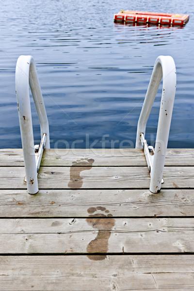 Lábnyomok dokk nyár tó nedves létra Stock fotó © elenaphoto