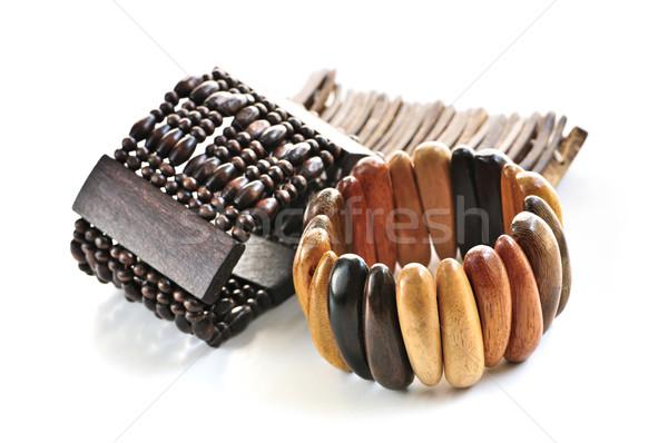 Wooden bracelets Stock photo © elenaphoto