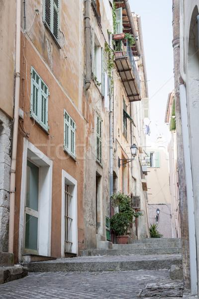 öreg keskeny utca épületek középkori város Stock fotó © elenaphoto