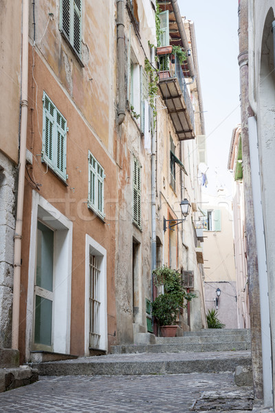 Old narrow street in Villefranche-sur-Mer Stock photo © elenaphoto