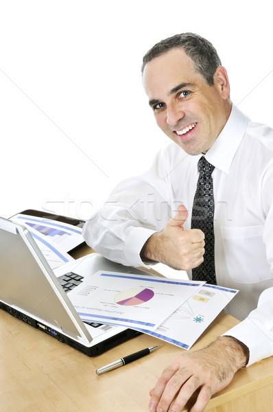 Geschäftsmann Schreibtisch weiß glücklich lächelnd Sitzung Stock foto © elenaphoto