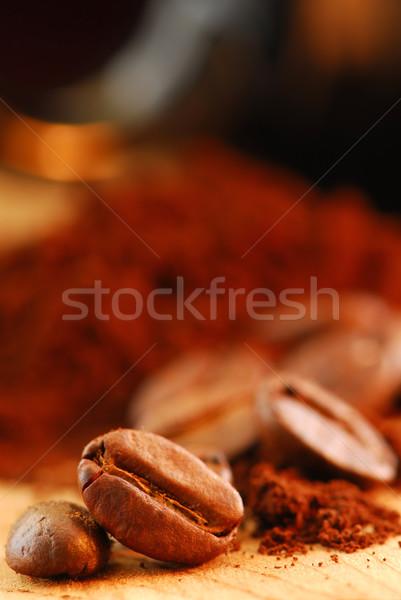 Stockfoto: Koffiebonen · grond · koffie · macro · afbeelding · zwarte · koffie