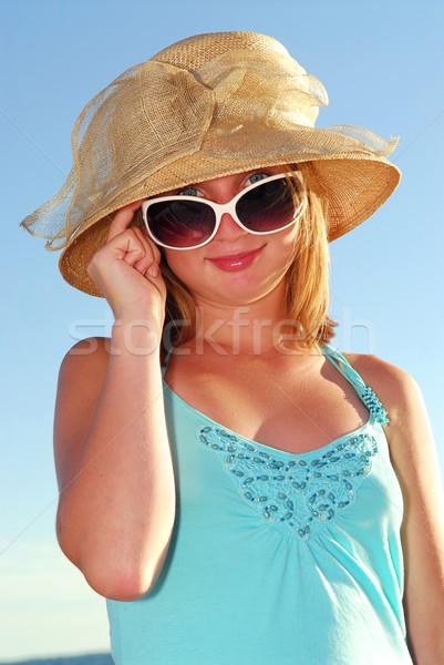 Indossare Hat occhiali da sole estate spiaggia Foto d'archivio © elenaphoto