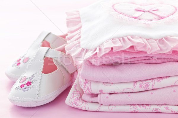 Pink baby clothes for infant girl Stock photo © elenaphoto