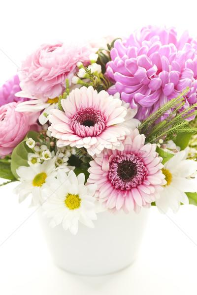 Virágcsokor virágok színes kicsi váza tavasz Stock fotó © elenaphoto