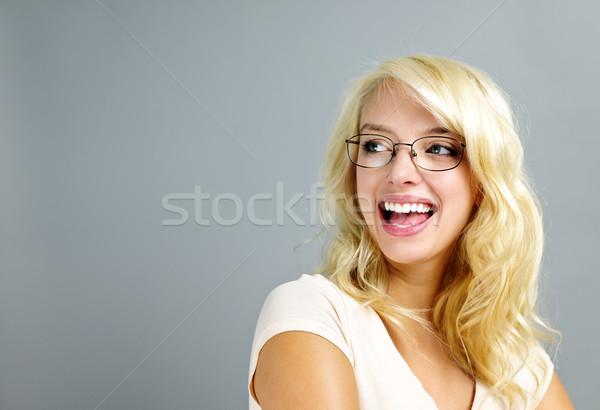 Stockfoto: Gelukkig · vrouw · bril · jonge · vrouw · bril