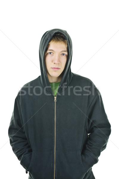 Young man in hoodie Stock photo © elenaphoto