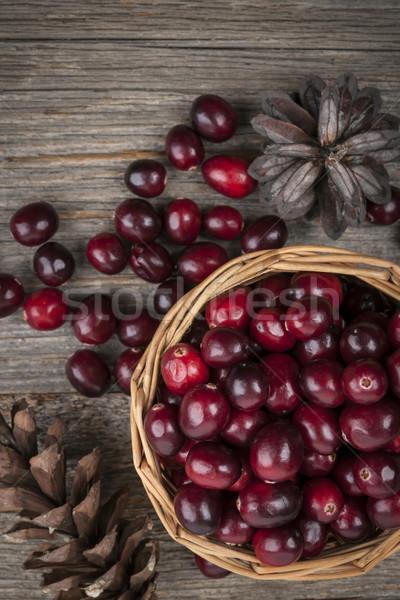 Cranberries in basket Stock photo © elenaphoto