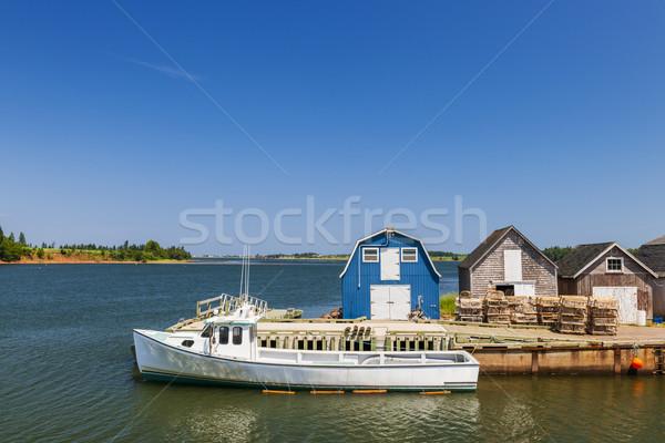 Pescaria doca Canadá barco água Foto stock © elenaphoto
