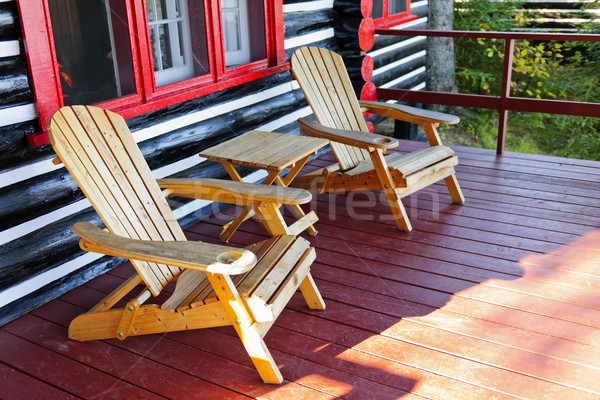 Log cabin porch with chairs Stock photo © elenaphoto