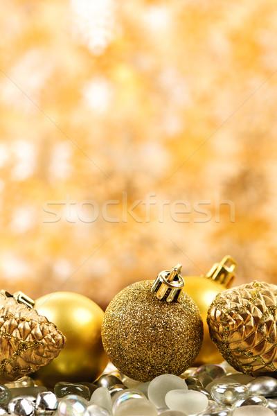 Stock fotó: Karácsony · arany · díszek · fenyőfa · háttér · labda