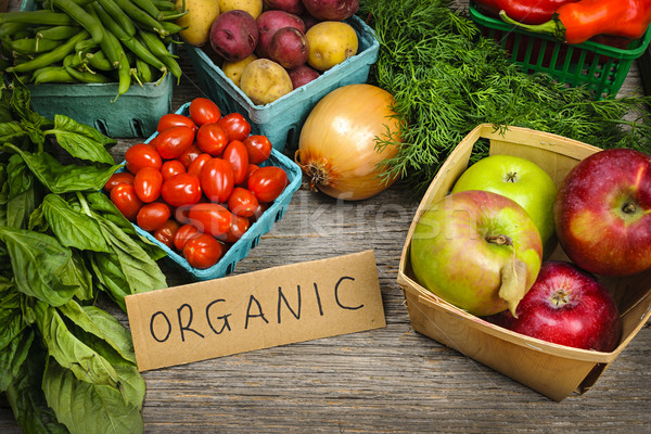 Organic market fruits and vegetables Stock photo © elenaphoto