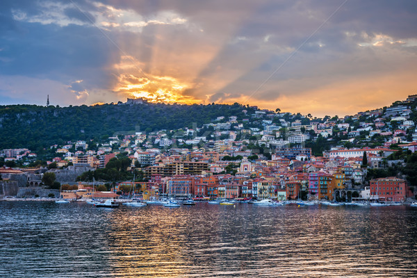 Sunset in Villefranche-sur-Mer Stock photo © elenaphoto